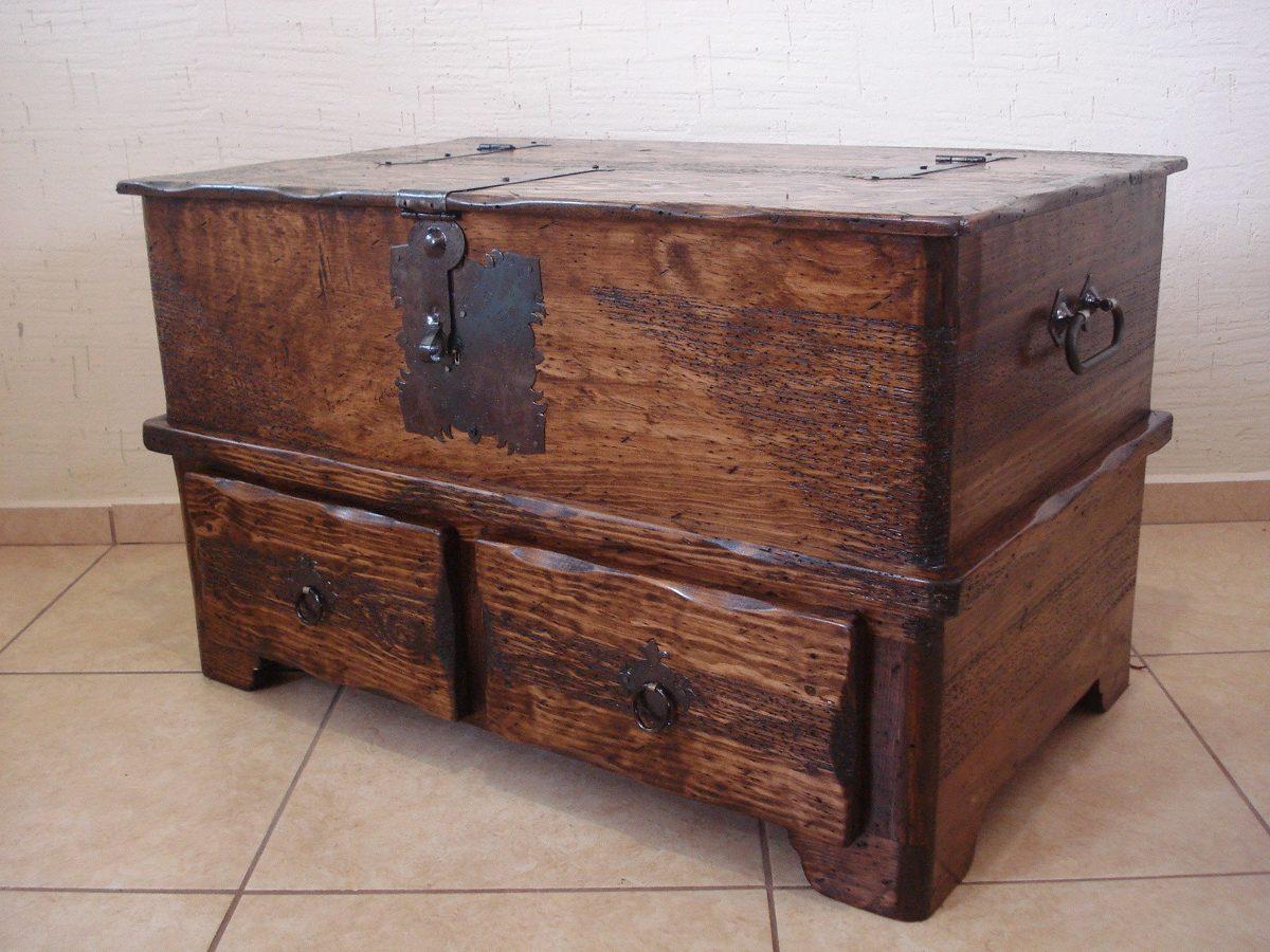 Ba l r stico mesa con cajones madera de pino apolillada - Baul mesa de centro ...