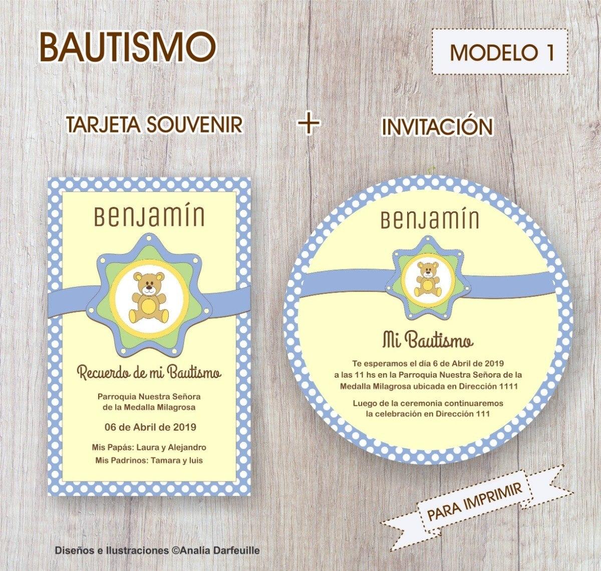 Bautismo Tarjeta Souvenir Invitación Nene Para Imprimir