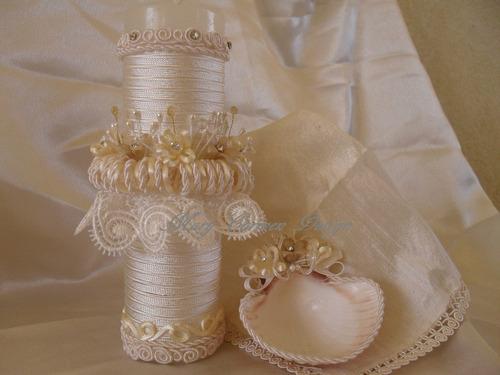 bautizo, set vela concha y fina mantilla en seda y cristales