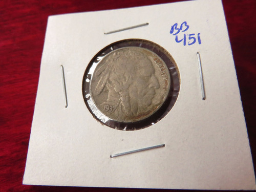 bb#451 usa five cent buffalo indio americano 1937