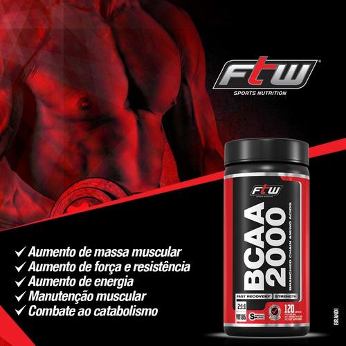 bcaa 2000 ftw 500mg - 120 cápsulas - fórmula mais forte