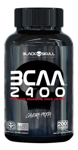 bcaa 2400 200 tabs black skull (aminoácidos) - caveira preta