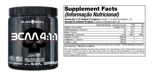 bcaa 4:1:1 black skull 280g aminoácidos - caveira preta