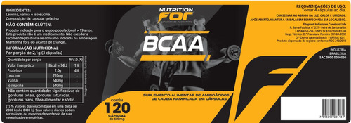 bcaa -600mg 120 cáps. kit 2 potes premiun original nutrition