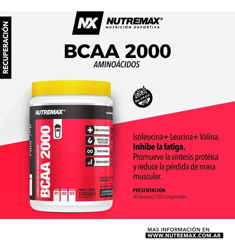 bcaa-amino ramificados-bcca 2000 nutremax