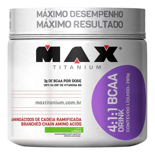bcaa drink 280g em pó max titanium 4:1:1 aminoacido sabores