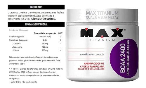bcaa max 450 cápsulas 2400 - max titanium - original