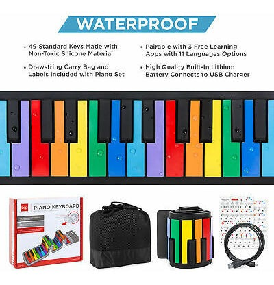 BCP Kids 49-Key Portable Roll-Up Piano Keyboard Musical STEM Toy w// Bluetooth