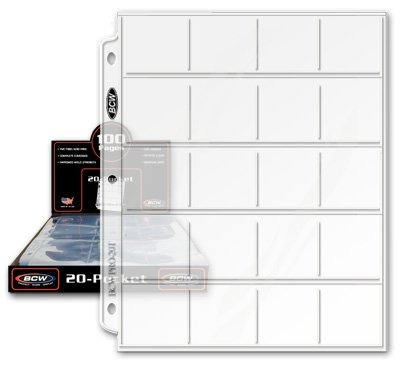 bcw pro 20-pocket pages, tamaño de bolsillo: 2  x2 , 20 pag