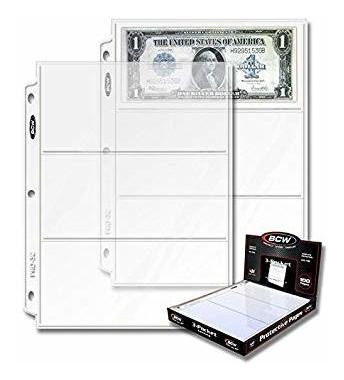 bcw pro página 3-pocket moneda (100 ct. caja) (original ver
