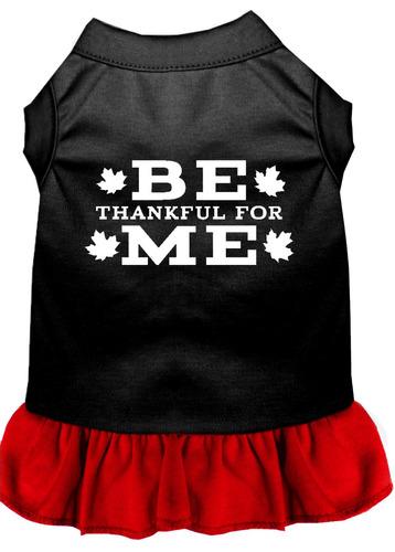 be agradecido para me vestido con impresión pantalla negro