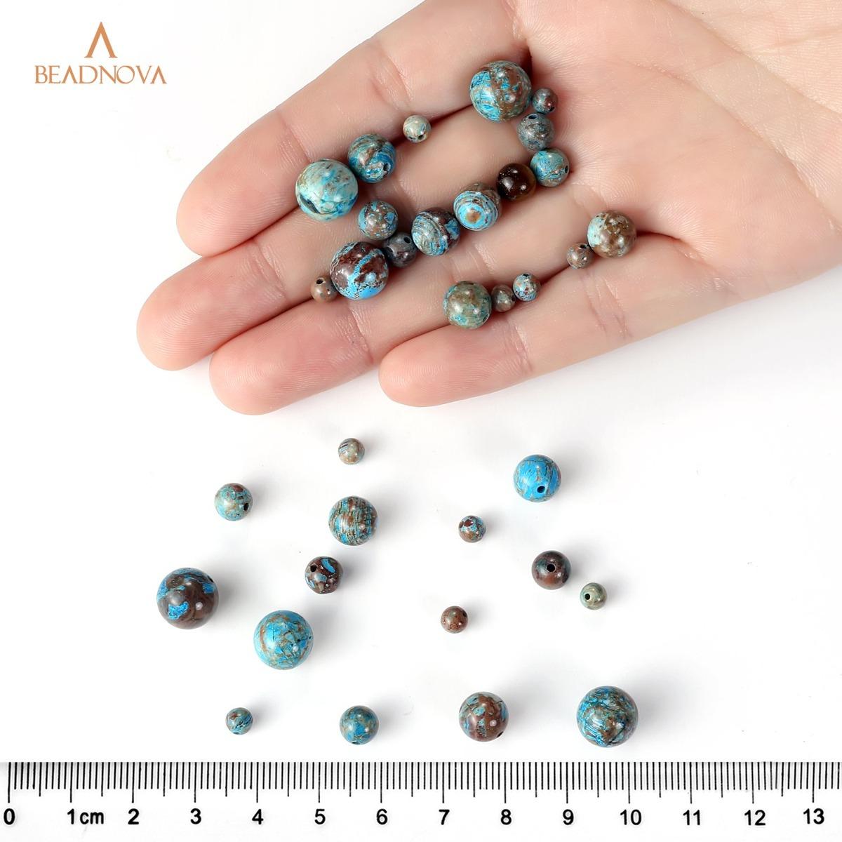 BEADNOVA 8mm Blue Turquoise Gemstone Round Loose Beads for Jewelry Making 45-48pcs