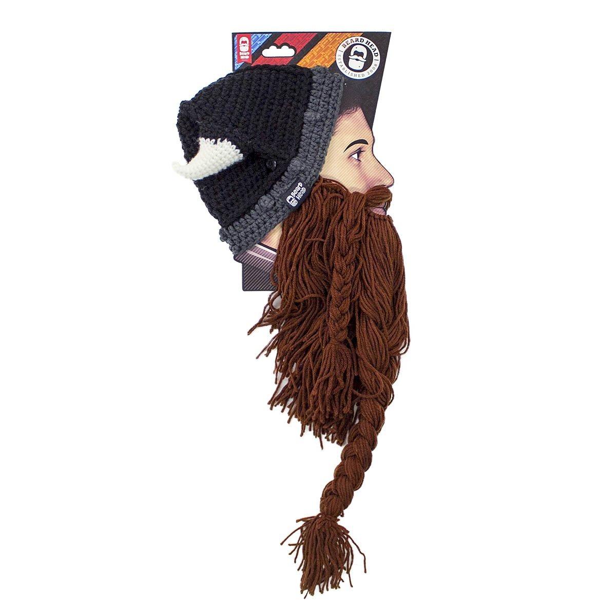 Beard Head Viking Pillager Beard Beanie Funny Knit Horned ...