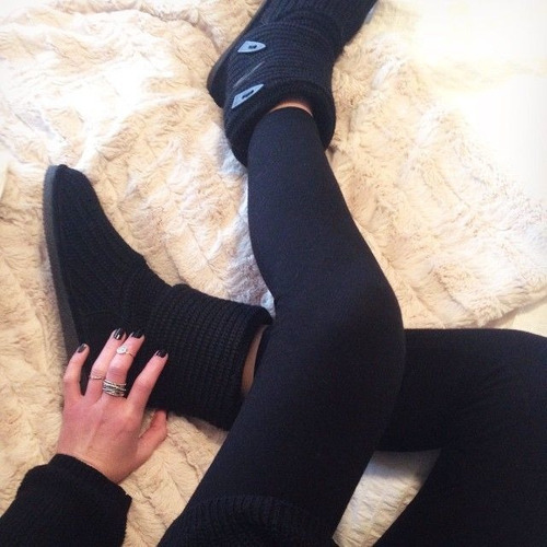 bearpaw botas de crochet  35 /36 black ...original