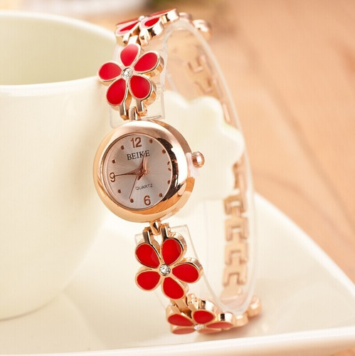 beauty reloj mujer correa flores rojo negro blanco cuarzo