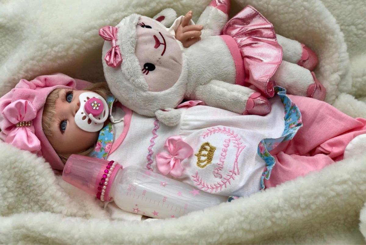 Bebê Boneca Reborn Bebe 53 Cm Barata Frete Gratis Princesa - R  359 ... c63a4868c0d