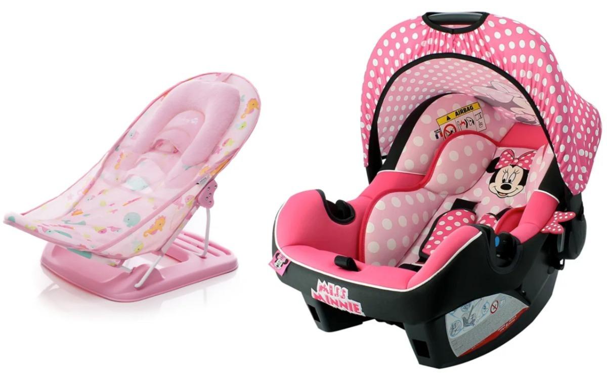 bebê conforto beone sp minnie + cadeira banho shower safety. Carregando  zoom. f44aa245c2b
