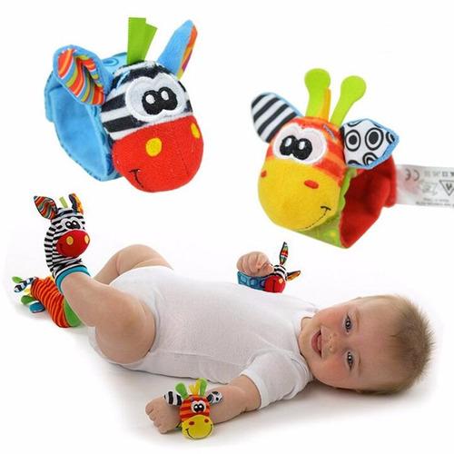 bebê kit chocalho 4 pçs meia e pulseira brinquedo sozzy