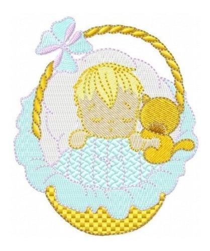 bebê na cesta - coleção de matriz de bordado