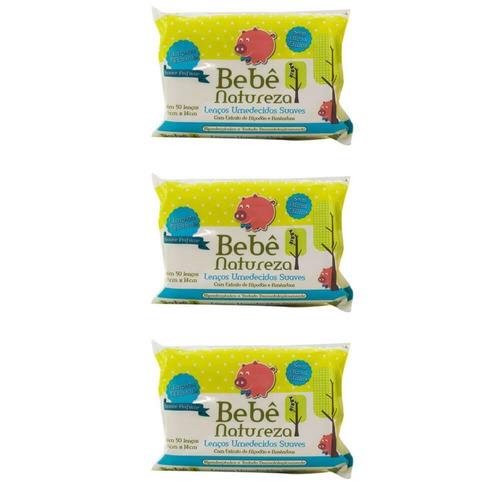 bebê natureza lenços umedecidos azul c/50 (kit c/03)