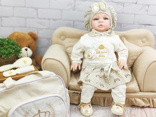 bebê real reborn realista 53cm princesa boneca 21 itens
