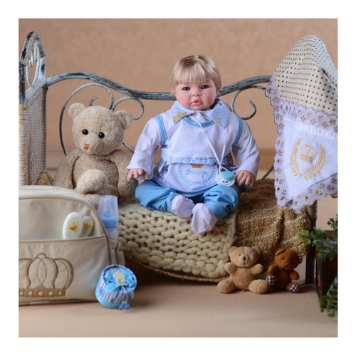 bebê realista reborn promoção principe menino bolsa