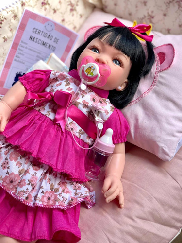 bebê reborn 11 itens princesa boneca  siliconad cilios linda