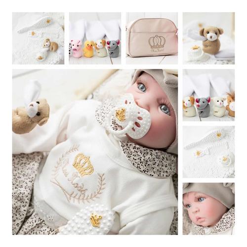 bebê reborn 21 itens princesa boneca senta silicone bolsa