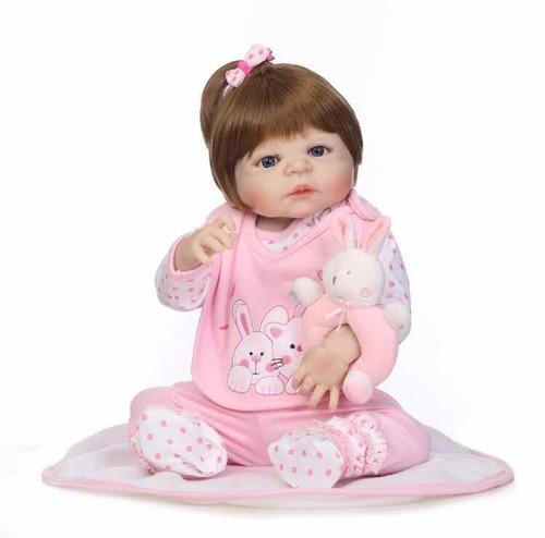 bebê reborn corpo silicone 55cm realista envio imediato