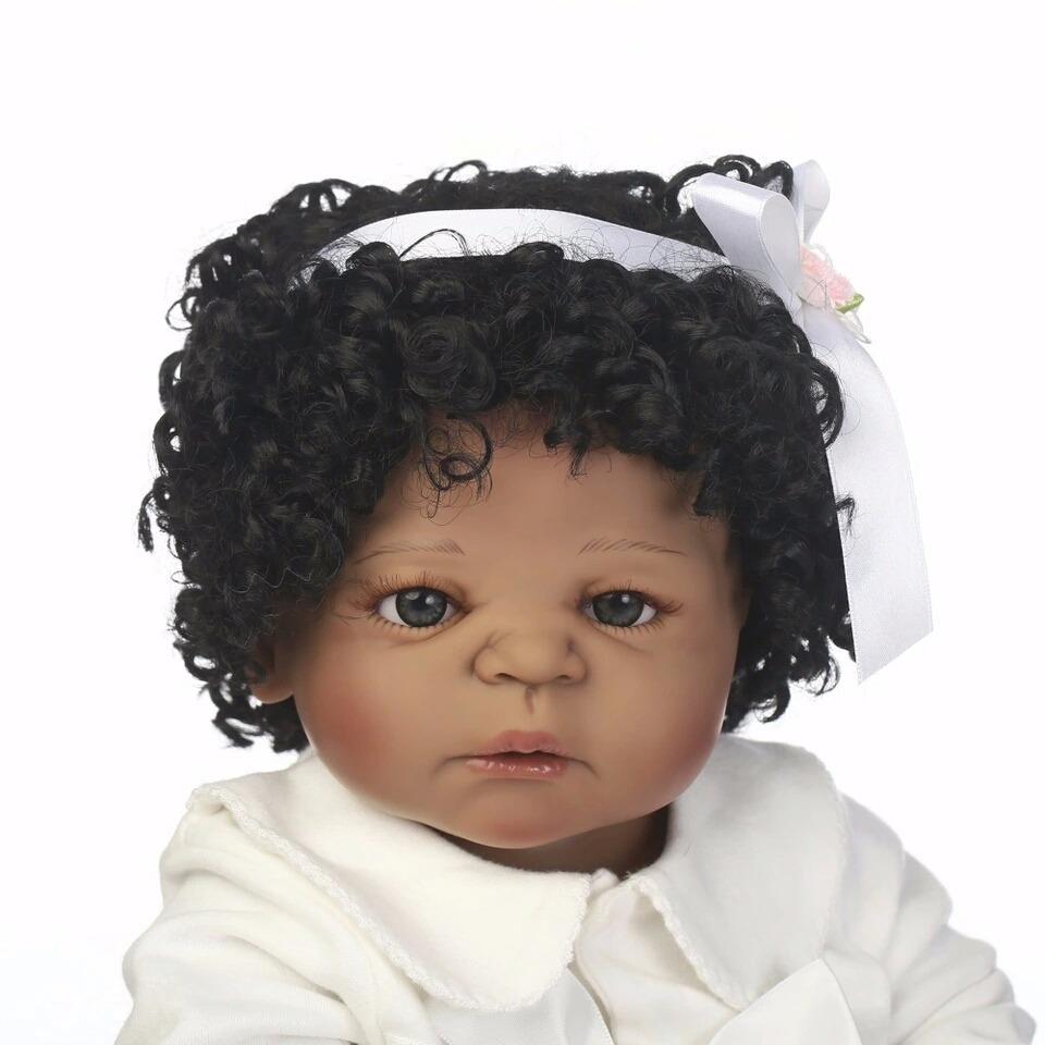 Beb 234 Reborn Negra Morena Cabelos Cacheados Silicone R