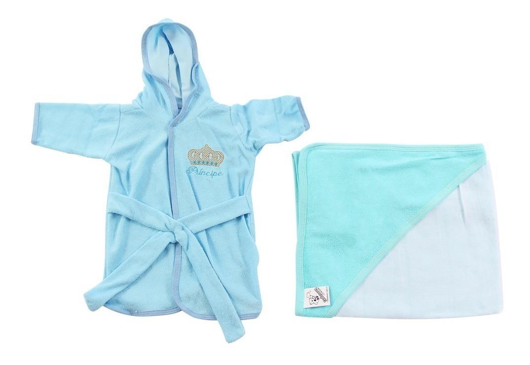 4aa87e9fbab35d Roupão Para Bebê Infantil Menino + Toalha Com Capuz Príncipe