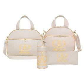 d01e416b1 Kit Bolsa Maternidade Realeza Personalizada Bege - 4 Peças