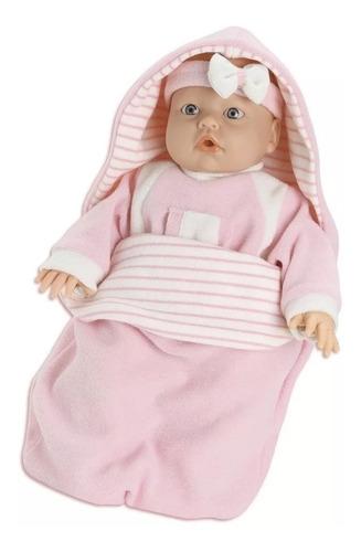 bebe boneca macacão rosa - roma brinquedos