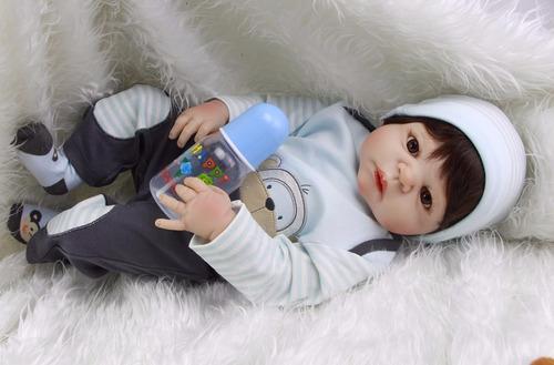 bebe boneca reborn menino real toda em vinil seliconado 57cm