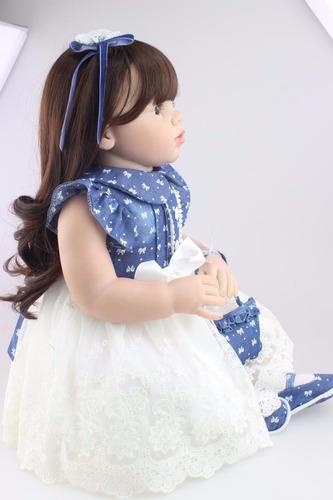 bebe boneca reborn realista cabelo grande linda 70 cm 2,3 kg