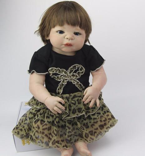 bebe boneca reborn toda em vinil siliconado olhos azuis