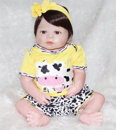 bebe boneca reborn toda em vinil siliconado victoria 55 cm