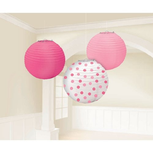 bebé girl ducha party round linterna decoration papel 9 paqu