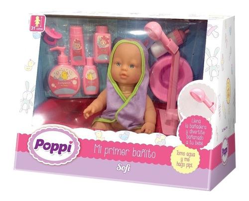 bebe poppi muñeca primer bañito bebote accesorios y sonidos