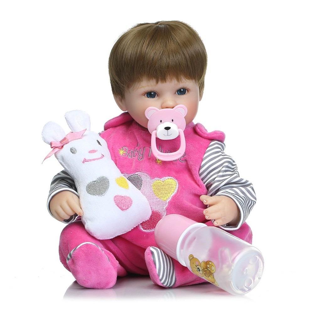 Bebe Reborn Boneca Realista Menina Larinha Rosa 42cm
