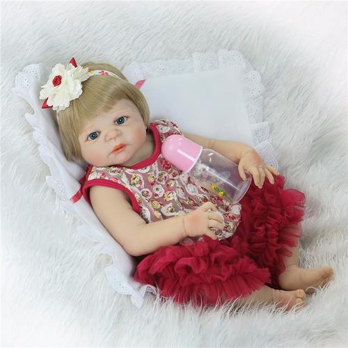 bebe reborn boneca reborn toda em vinil siliconado loira 55