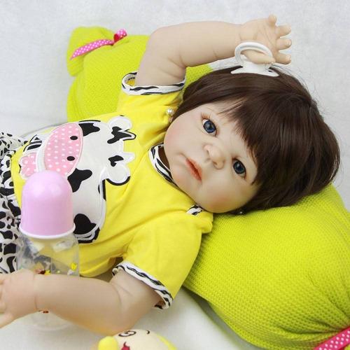 bebe reborn boneca vaquinha de silicone menina frete grátis