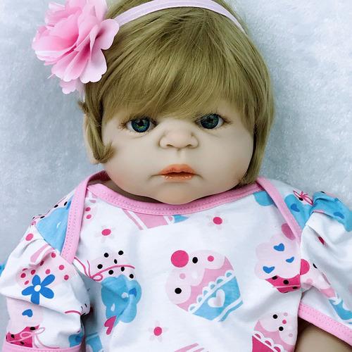 bebe reborn loira 55cm toda vinil siliconado perfeita! 1,5kg