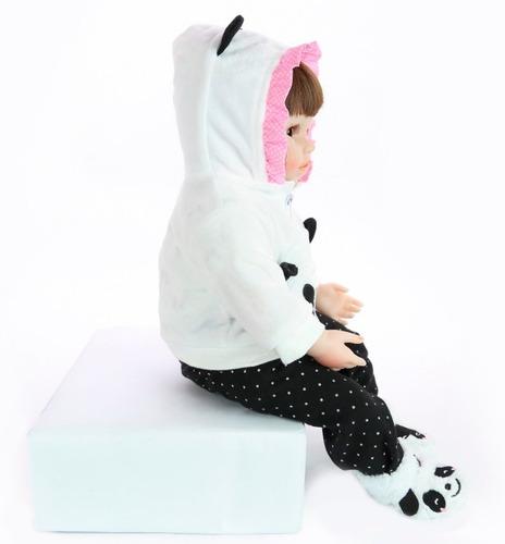 bebe reborn menina panda pronta entrega 46cm super realista