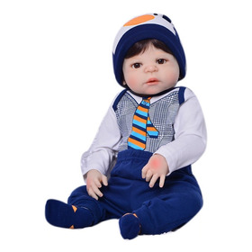Bebê Reborn Menino Moreno Olhos Castanhos - Silicone 57 Cm