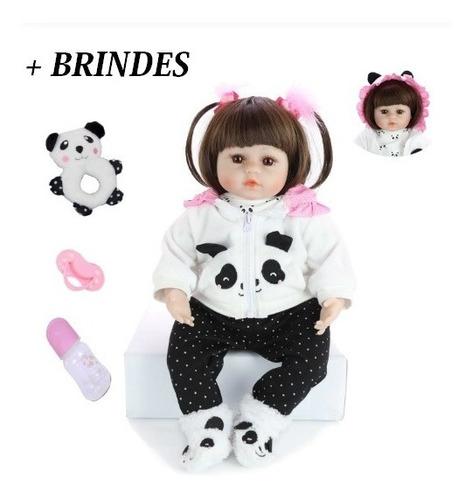 bebe reborn panda 46cm com acessórios boneca pronta entrega