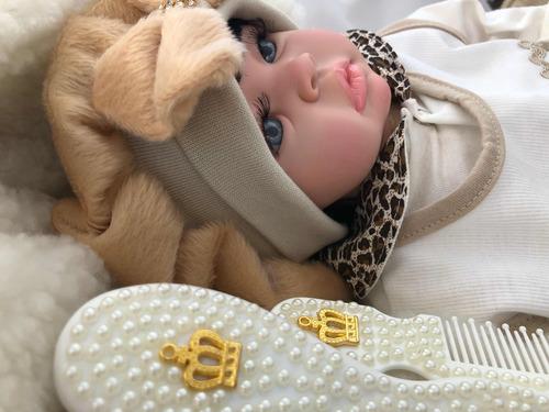 bebe reborn realista menina promocao boneca princesa + bolsa