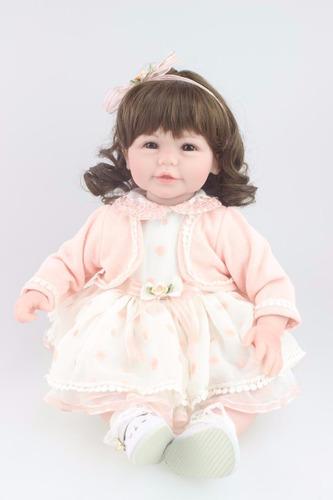 bebe reborn silicone cabelo grande renascido por 429,00
