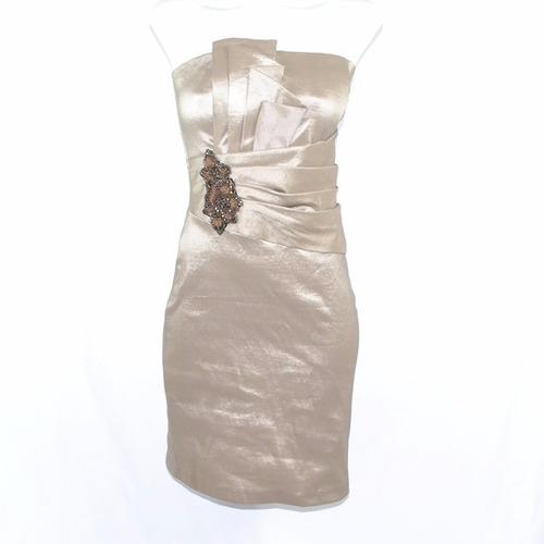 bebe vestido dorado coctail 4msrp $2,100