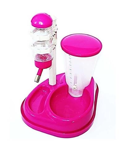 bebedouro e comedouro automatico para cães - rosa
